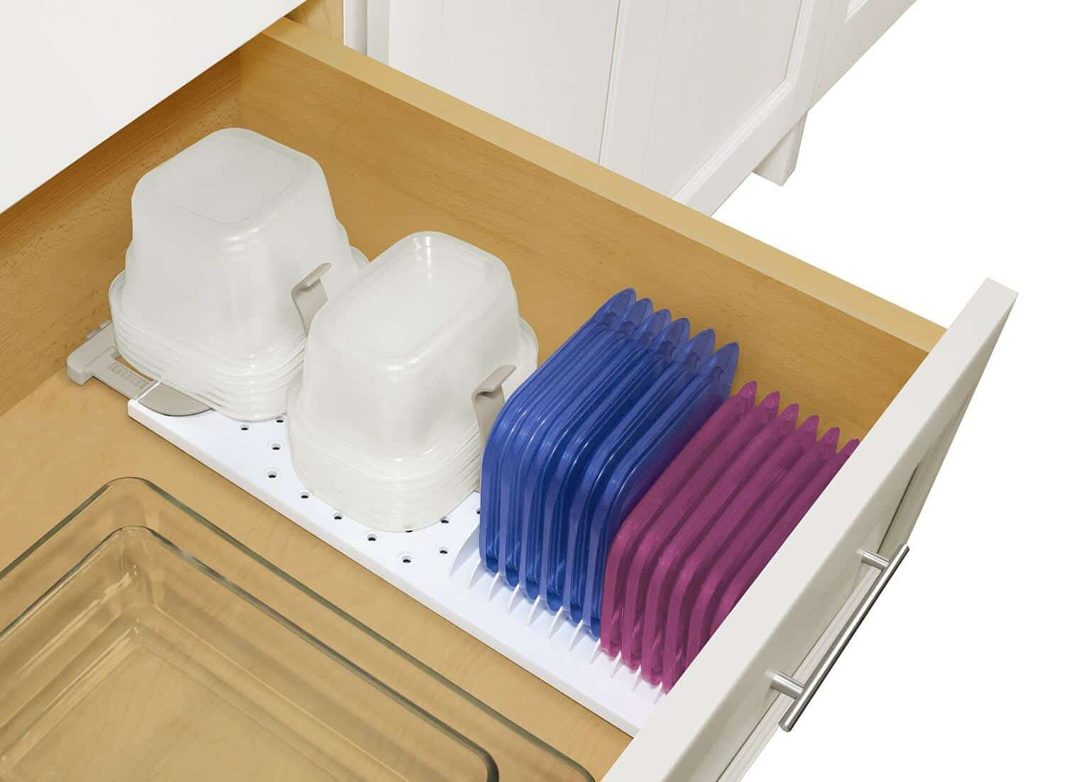 This clever solution has grips to hold your bowls in place, and a spot right next to it to hold the lids.