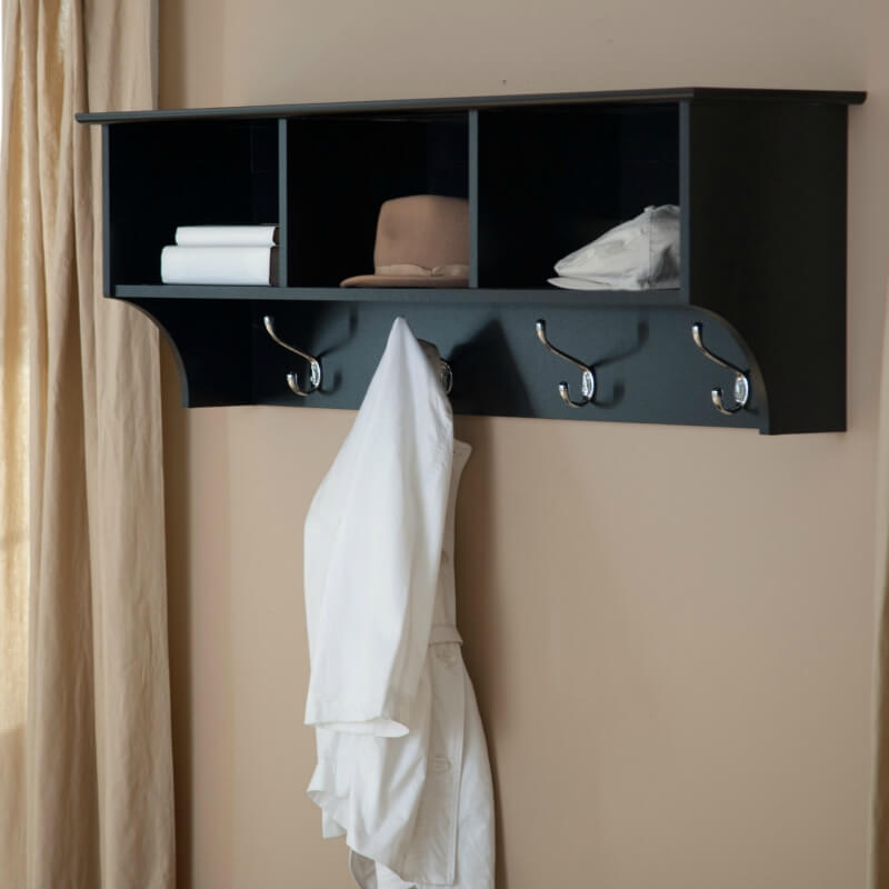 The added benefit of having a shelf means that you won't be attempting to hang your hats on these hooks only to pick them up off the floor every time you walk past.
