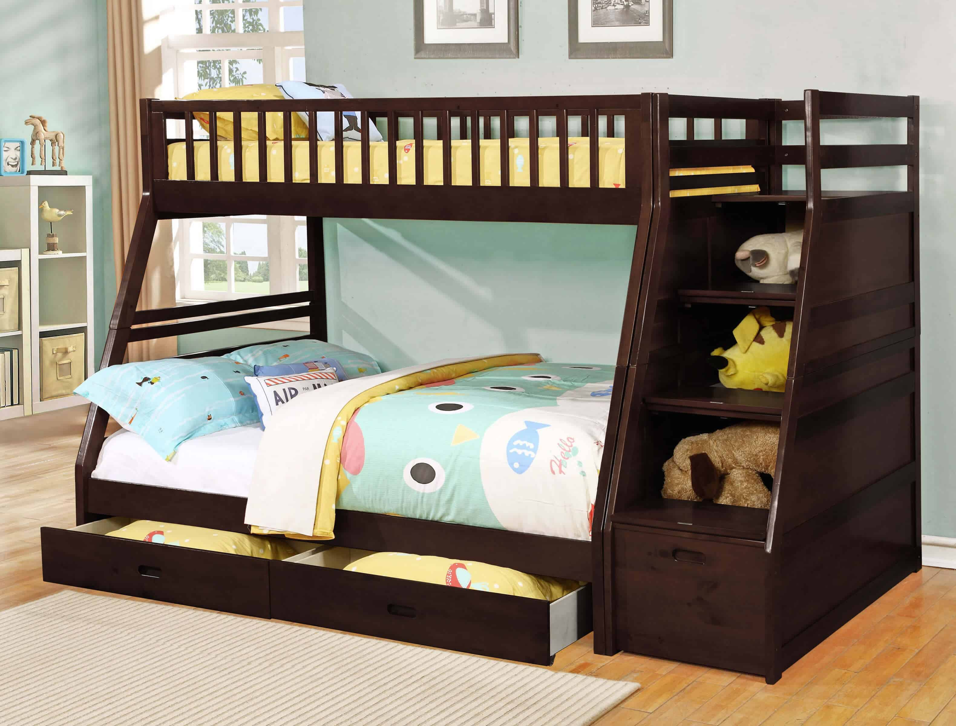 Bunk bed with owl comforter.