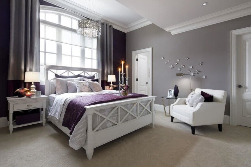 Pale lavender hues complement the use of bold purple accents while the white furniture and trim helps to showcase the lovely colors.