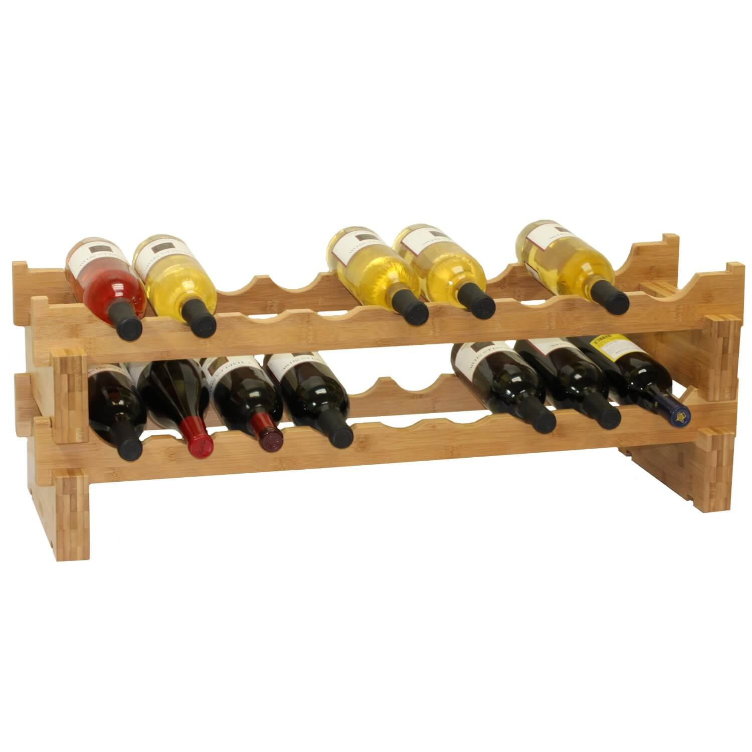 It also holds 18 bottles, but takes up much less room, and can even be placed on top of a wall cabinet if you don't need to get to your wine very often.