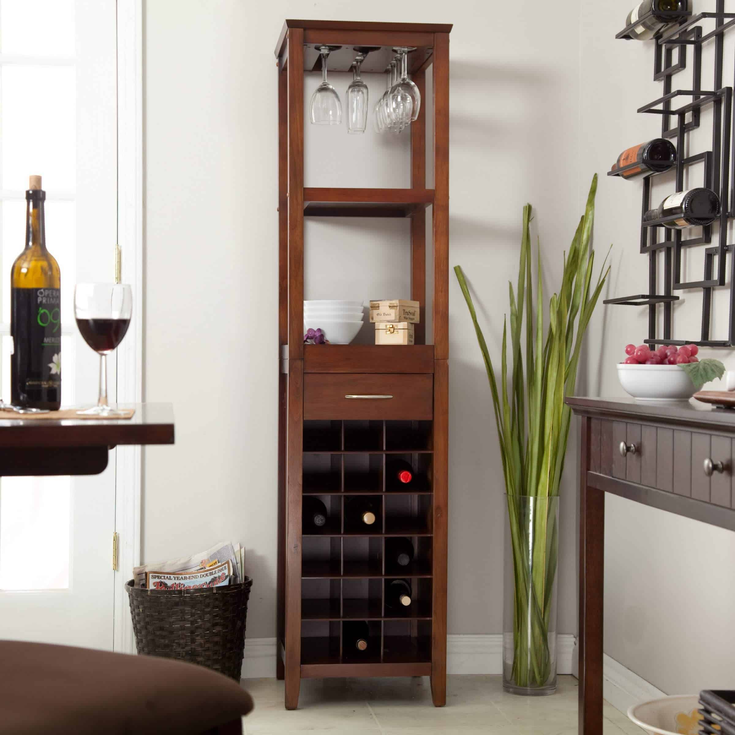 This wine tower can hold up to 18 bottles of wine, and has several shelves above to house wine glasses and decorative accents.