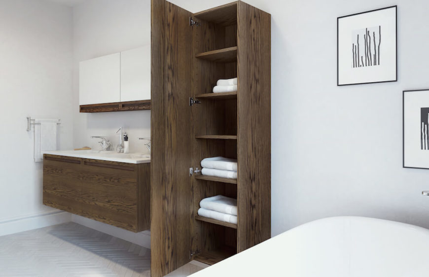 Seen here is the floating vanity in oak with a slim, almost minimalist profile, along with a matching linen cabinet in a matching mocha finished oak. Both the linen cabinet and vanity are fitted with Blum soft close hinges, meaning you'll never accidentally slam a drawer again!