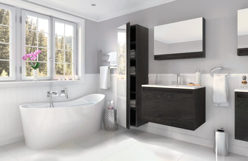 A final look at the previous bathroom shows the sheer size of the mirrored linen cabinet, along with the attractive combination of white panels below and light gray paint above.