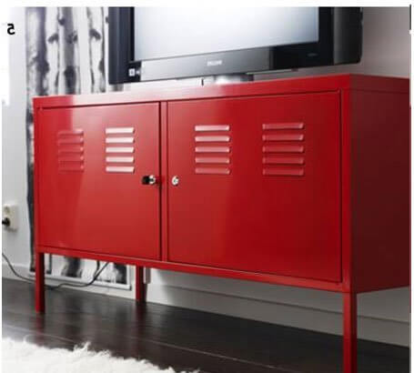 The style on this entertainment center is a dead giveaway for the type of man cave it's meant for. The locker style vents and metal construction make it a perfect match for anyone with a sports themed man cave, an industrial styled room, or even one that was built into a garage setting. Bold red paint draws attention while the pair of large locker doors hide abundant inner storage.