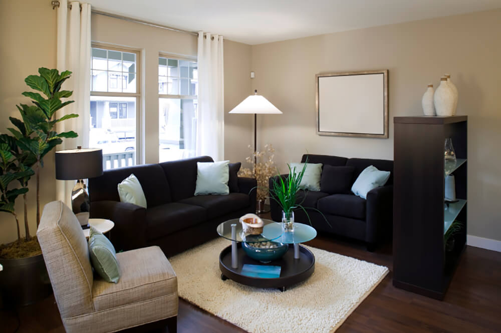Accents of pale, crystalline blue pair with bold green plants to balance the black and tan used in this room. Fleeting white accents make a subtle appearance here and there.