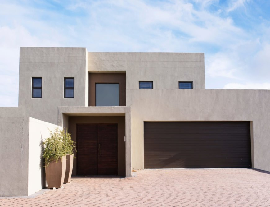 Stucco is an exterior material that has been used to thousands of years. Traditional stucco is a cement mixture that is added to sand or lime and mixed together to form a paste. A galvanized metal screening is installed on the wall before the stucco is spread on it. It can be mix to have a fine or course texture but is best suited to building with simple geometrics.
