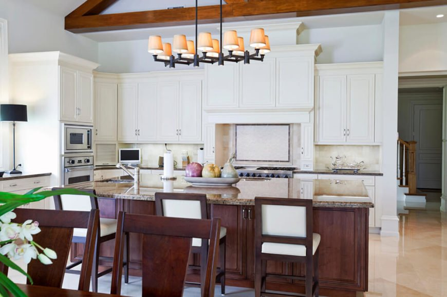 Less for extensive lighting and more for decorative, intimate lighting, this lamp creates a striking contrast to the bright white of the surrounding cabinetry.