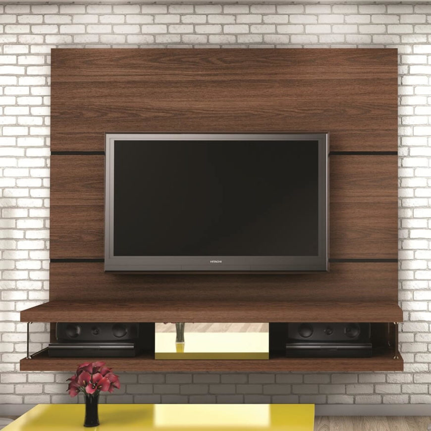 We love this piece because it combines the rugged look of natural wood with the sleek, slim lines of modern design. Mounted on a wall, it adds a bold splash of contemporary glamor to any space, while taking up a minimal amount of space. What it lacks in storage options it more than makes up for in visual appeal.