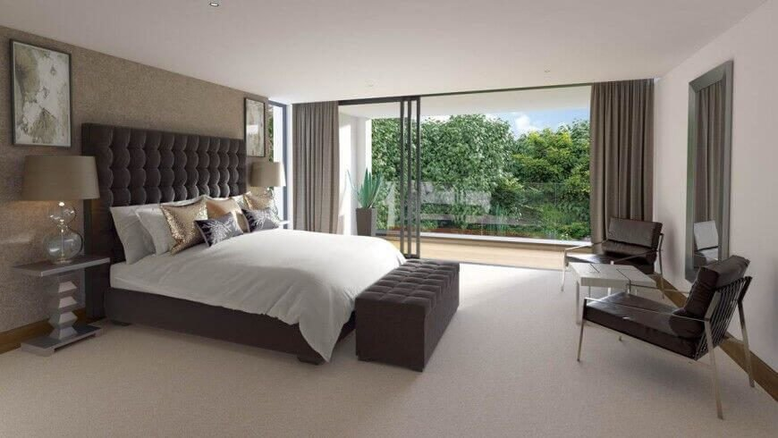 9 - bedroom with accent walls - David James Architects, Bury Road