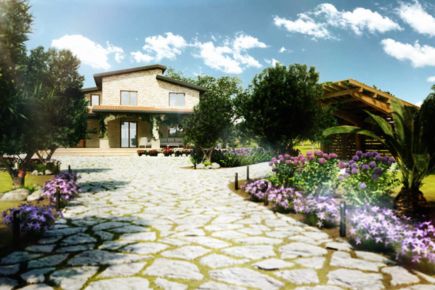 Drawing closer, several details come to the fore. We can see intricate outdoor lighting elements dotting the gardens, as well as a shaded natural wood structure for parking. The front entry of the home is shaded with a large roof overhang.