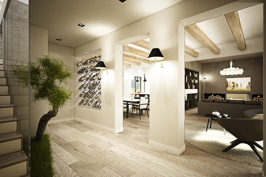 Moving inside, we reveal the dulcet tone of the lush flooring and walls, a bright but weathered texture that enhances the timeless look of the interior.