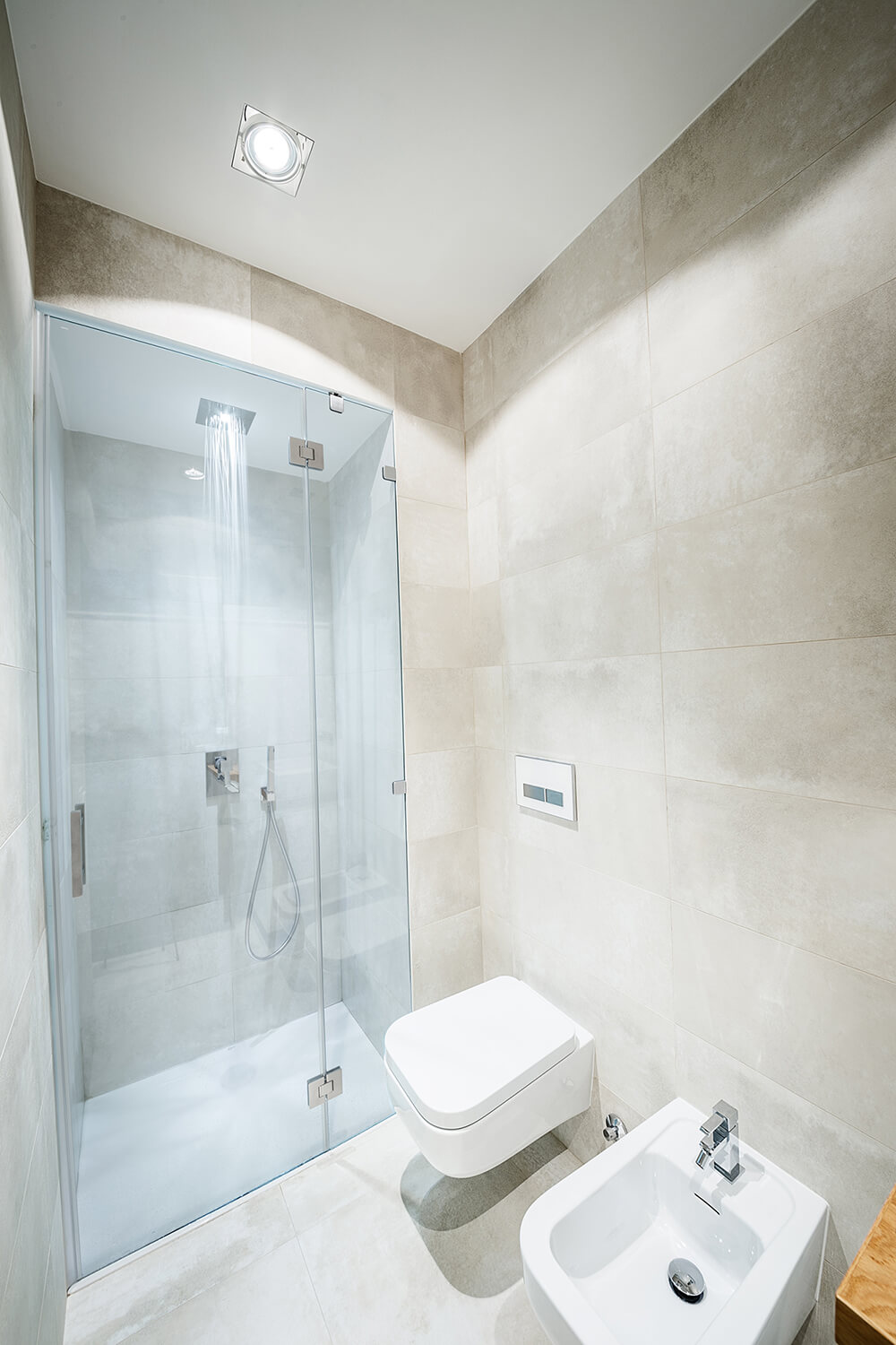 Next to the facilities at the far end of the light grey space, the walk-in shower is enclosed by glass.