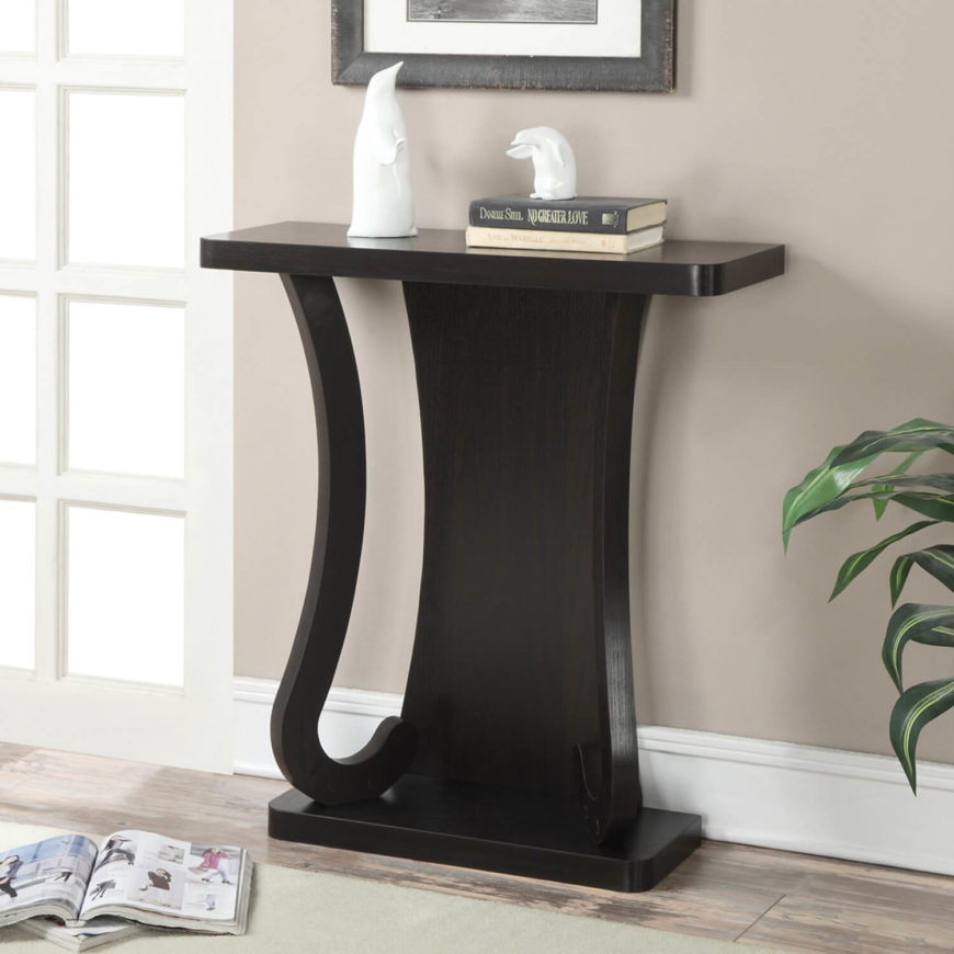 This sleek, modern table doesn't have any shelves, but it does make a nice spot to set your keys or purse when you walk in the door. It also works beautifully as a simple accent piece.