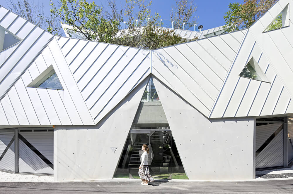 The front entrance sets a glass doorway into another triangular opening in the concrete structure. Within the doors we can see stairs leading up to the first level of garden.
