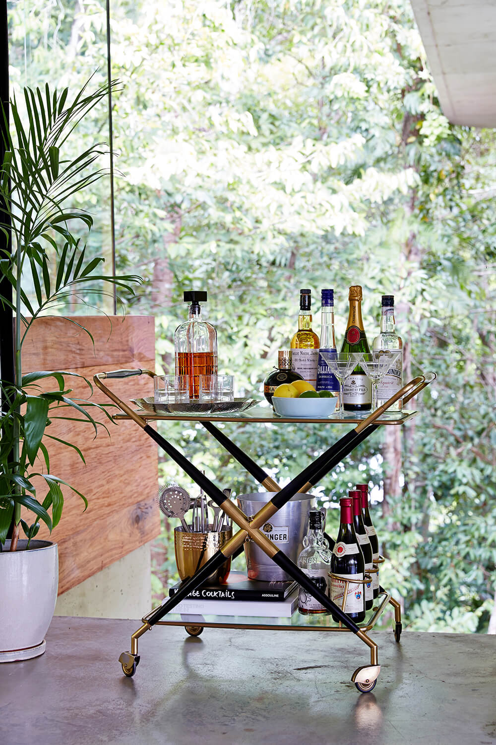 The home is rife with idiosyncratic touches and fine details like this bronzed drink cart, standing against the glass facade.