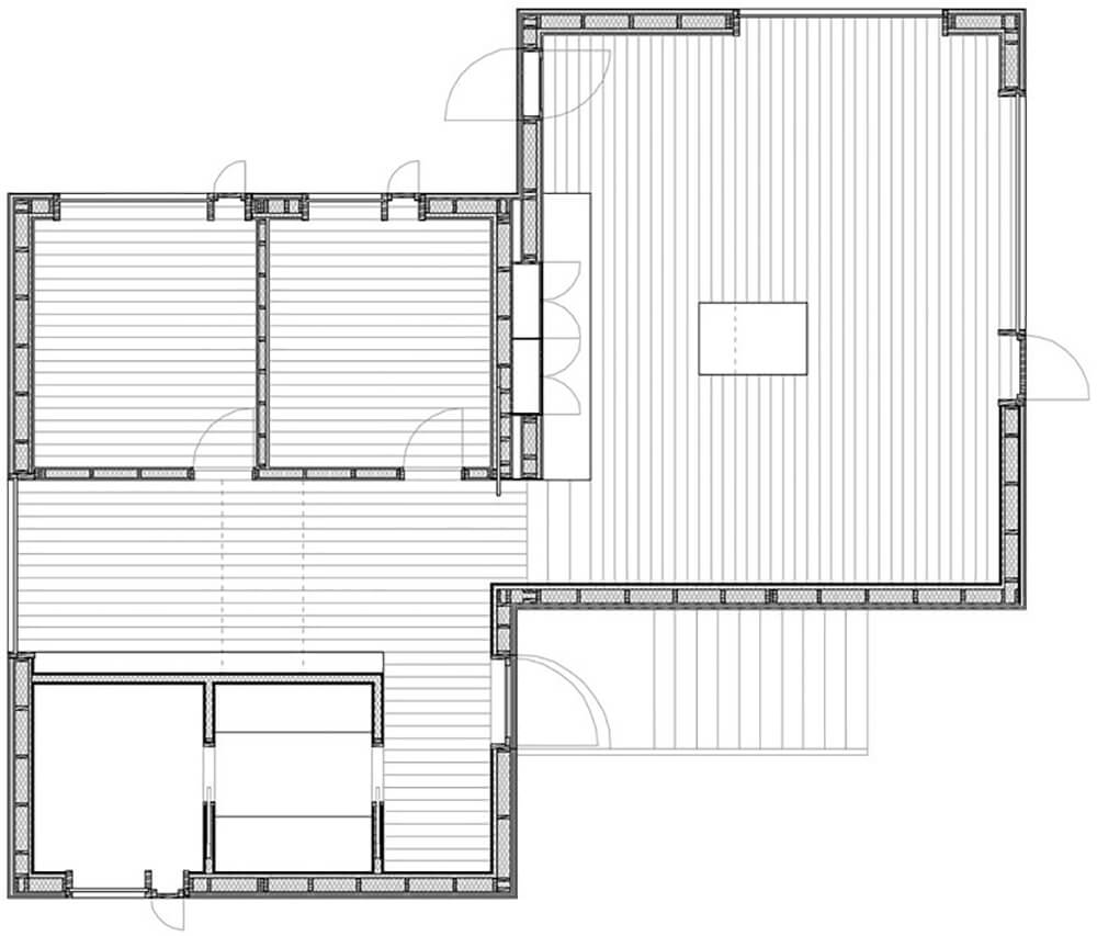 Here's a look at the floor plan, to help you piece together the layout of the home's interior. The open design makes for a deceptively simple, highly useful space.