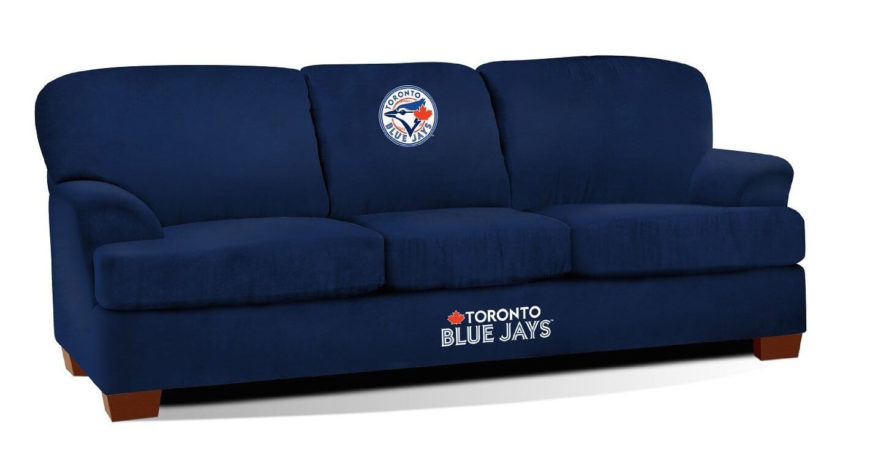The bold navy blue of this modern sofa adds a splash of color to any neutral space or helps to enhance the existing colors in a brighter room. The elegant wood frame and simple curved arms make way for the prominent team logos that will mesh with your sports oriented man cave.