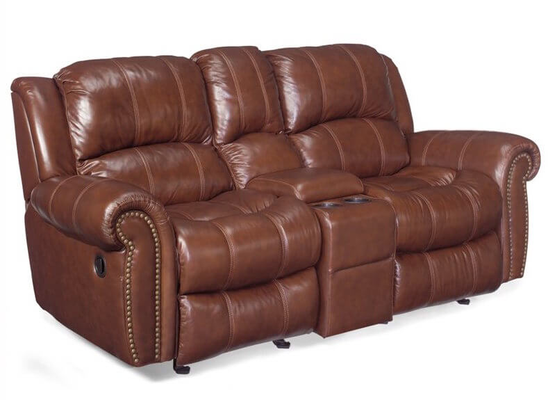 This ultra-comfortable sofa features a dual-reclining design for maximum comfort, plus a unique storage console in the center. Nailhead trim and roll arms emphasize the old fashioned luxury of the sofa.