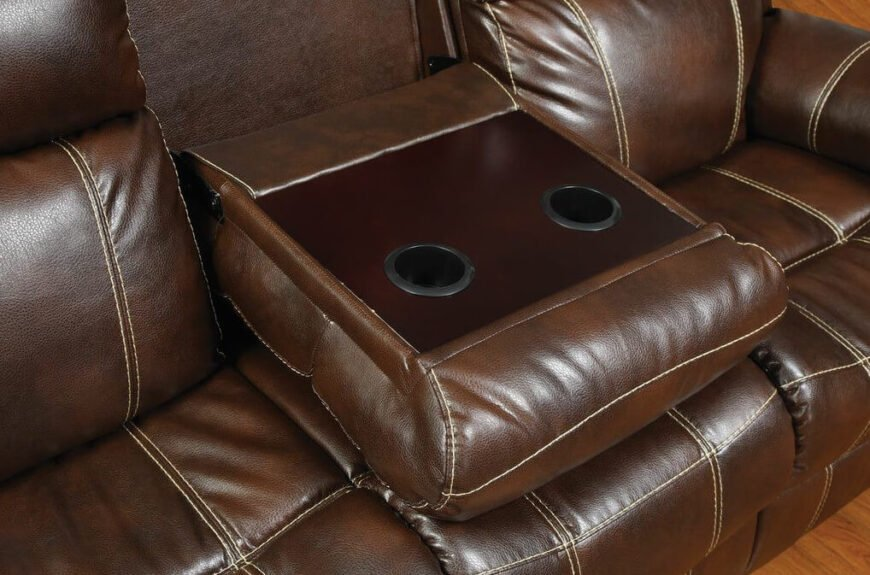 Flip the center back down to reveal a beautiful wood finish platform for drinks, snacks, and remote placement. Hidden compartments like this greatly increase the utility of the sofa.
