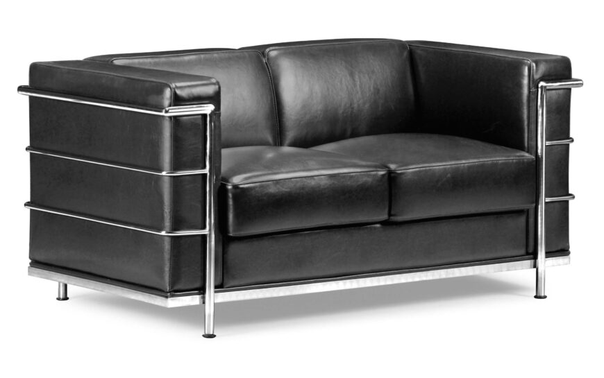 We love the classic lines of this midcentury modern design, with a chromed metal frame wrapping bespoke black leather in a sharp edged frame. The high contrast look would work best in a modern setting, but could spike a more traditional room with a burst of uncommon energy.