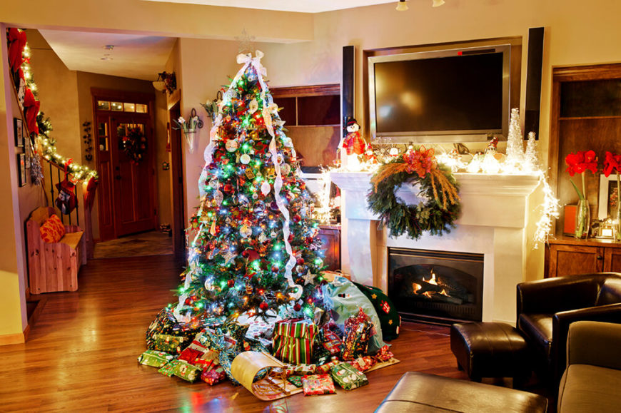 Fireplaces add beauty to Christmas morning– but they shouldn't keep you from a TV either! Use the mantle for decorations along side with the TV for gentle music for the ultimate Christmas morning.