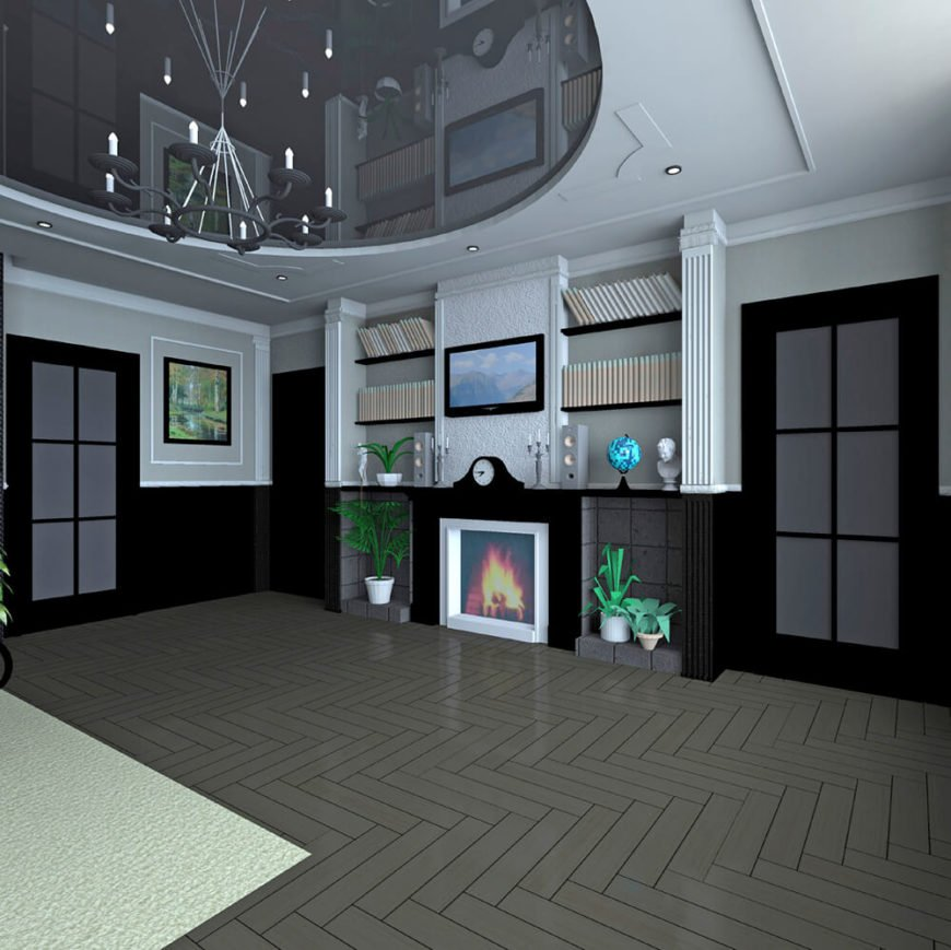 When you live in a digital world, even your fire can be fake! This digital mock-up of an up-to-date room has a mantle with a screen disguised as a roaring fireplace and a dainty TV just above it.