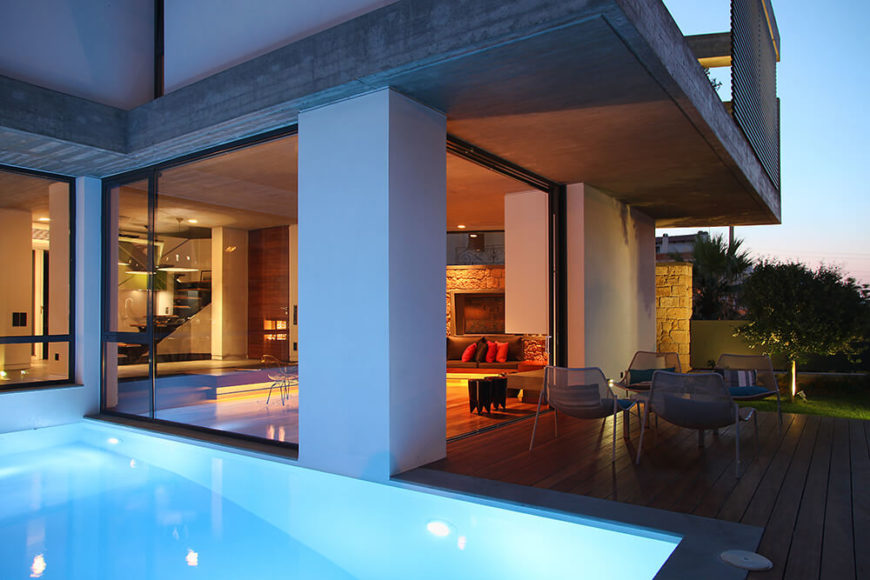 The living area of the house revolves around this courtyard and pool area. Here you can see the pool coming right up to the walls of the house and a small sitting area just outside the living room.