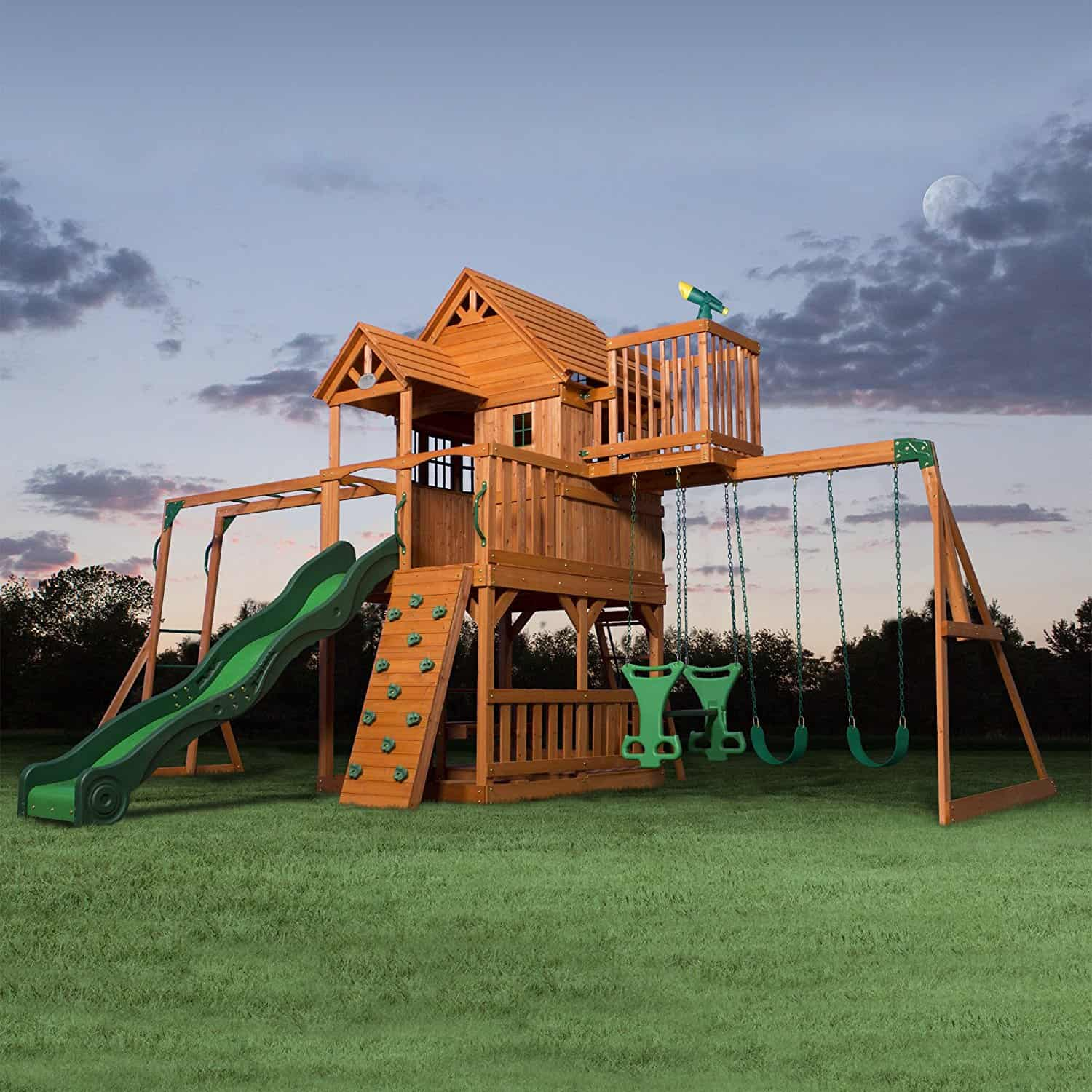 Wow! Amazing playground with 3-level fort, deck, slide and huge swing set.