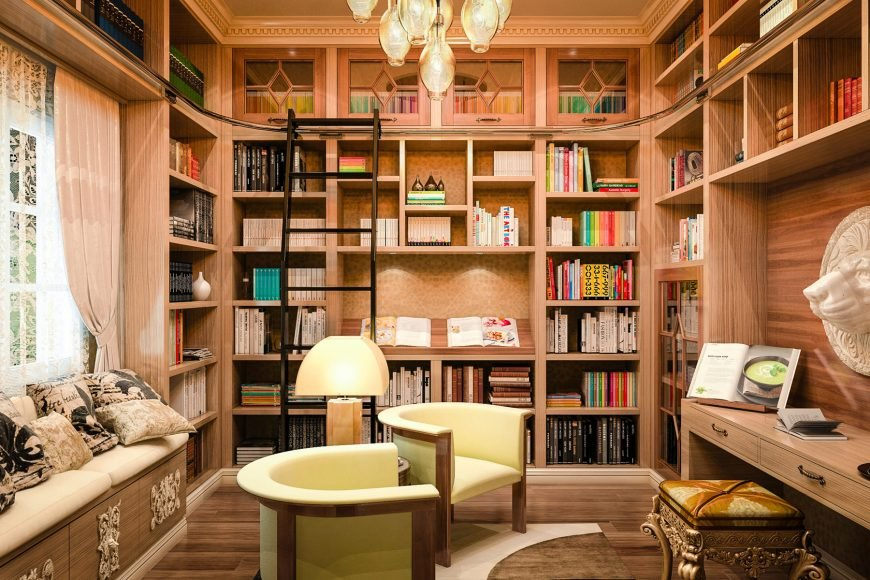 20 home library design ideas for 2018 for Small home library design ideas