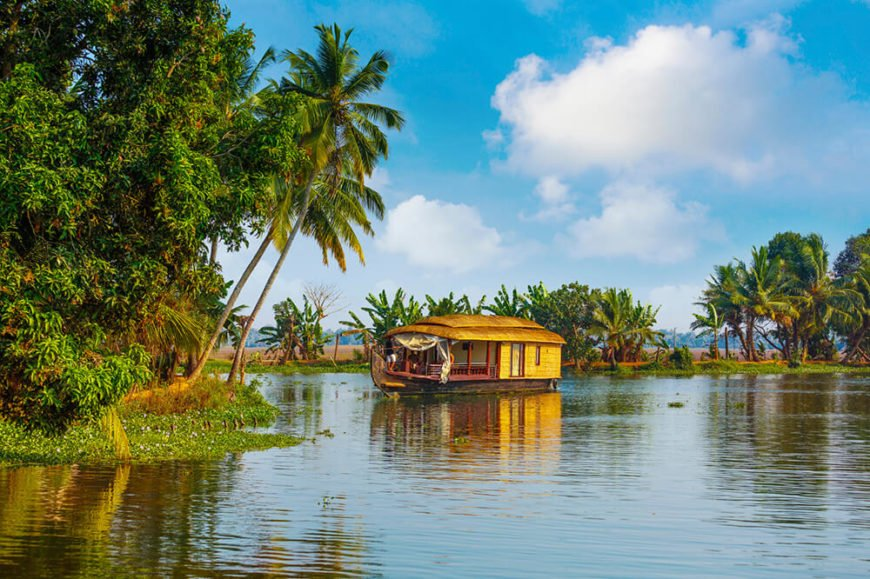 We leave you with one last image of an Indian houseboat tucked seemingly into the wilderness under a variety of palms.