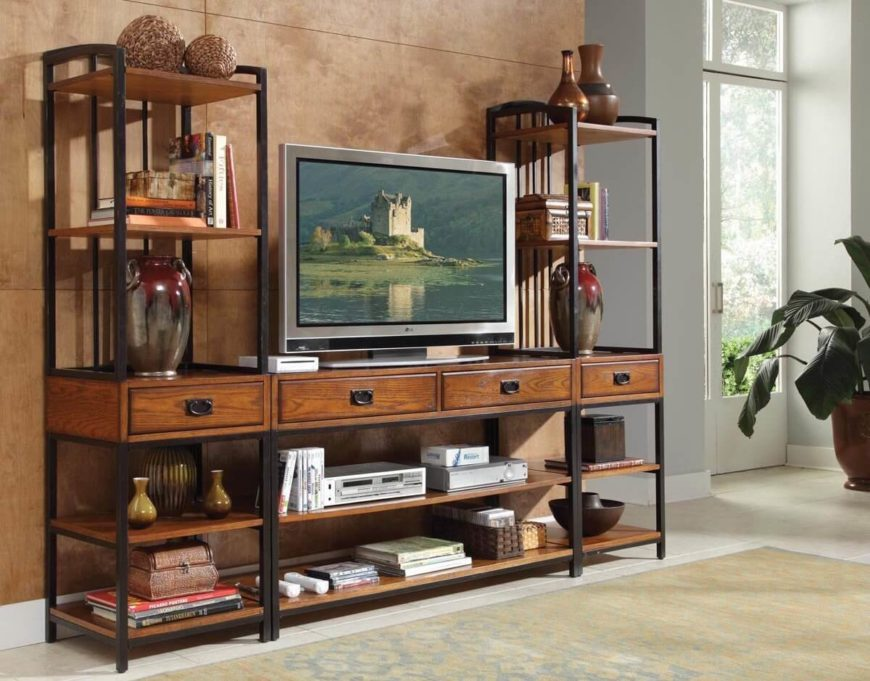 With a distressed oak finish and subtle metal framing, this multi-piece entertainment center is perfect for a man cave made for gaming. There's an abundance of shelving and several drawers for storage, plus a pair of taller stacks for displaying nicknacks and anything else you might need.
