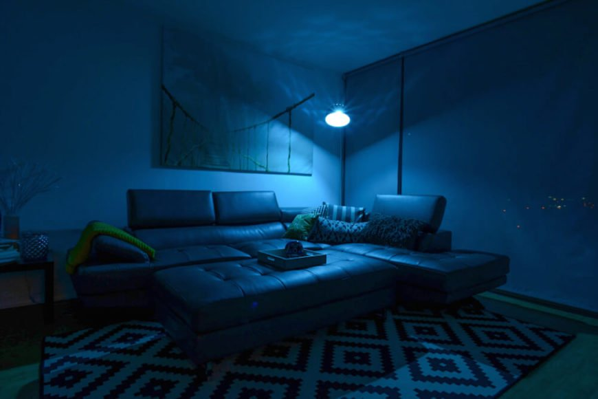 By installing the SmartFx bulb in a tall lamp in the corner of this living room, you can flood the entire space with whatever color you desire. The Smart Bulb even makes improvements on the lamp itself, by creating a interesting pattern on the wall.