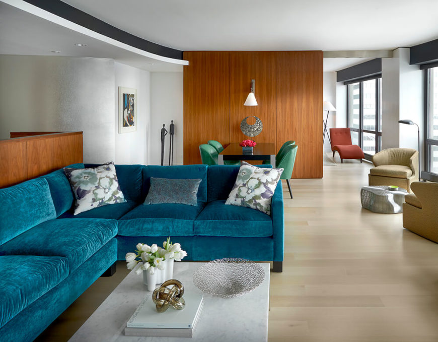 Living room in an open-concept main living space of a Chicago condominium.