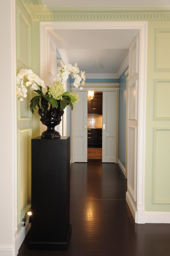 Leaving the living room, we see how the interior layout is comprised of a series of rooms and corridors, completely unlike the more open plans of most modern home designs.