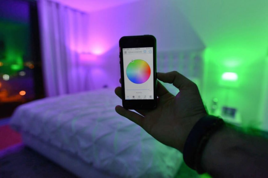 Pictured here is the Smfx app, and you can see how simply the light can be changed. You have at your fingertips a whole color pallet, and simply by dragging your finger across that pallet, you can change the lighting, and the entire atmosphere of your space.