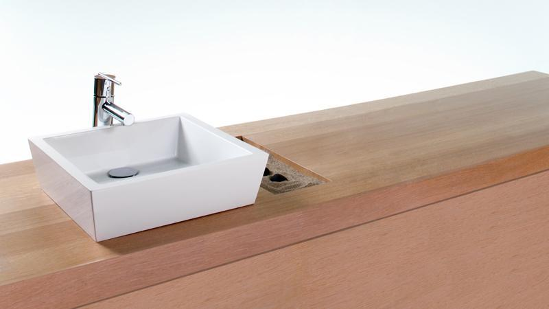 This 15x15x4 cube-shaped sink embraces a more modern, though no less sleek design scheme, featuring straight, clean lines and narrow flat surfaces. When paired with a lovely, natural wooden countertop, a subtle, yet utterly beautiful contrast is created. The VC 815A vessel sink is available in WETMAR BiO™ True High Gloss™ or matte finish.