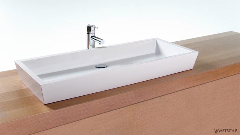 At 36 inches long, this variation on the Cube sinks still has a single drain. Like other models in the Cube collection, the sleek lines and modern atmosphere it evokes is beautifully contrasted by a light, natural wood vanity or countertop. Wall or countertop plumbing installation is required. The VC 836A is available in True High Gloss™ or matte finishes.