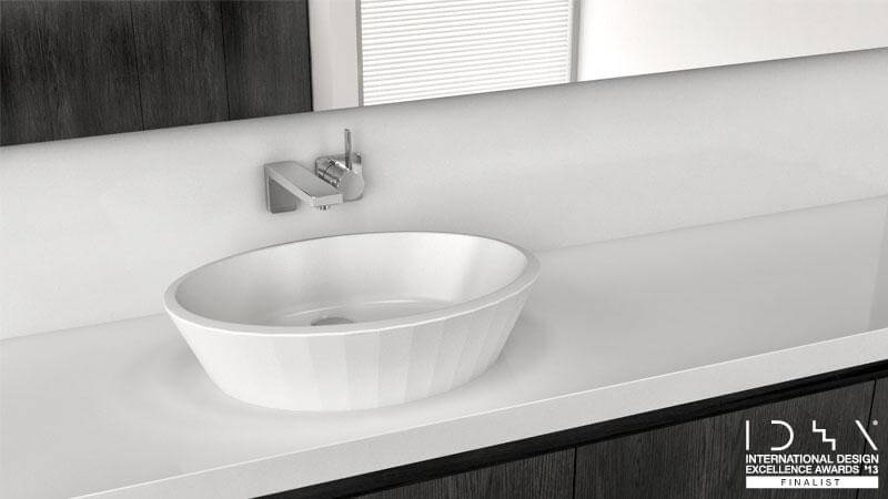 The Couture Collection's only sink, the VCR 821A, has a fluted design that is inspired by seashells. The smooth interior has a more modern feel, while the ribbed exterior has a more traditional, elegant, and classic feel. The VCR 821A is available in True High Gloss™ or in the new dual finish, which has a True High Gloss™ interior and a matte exterior.