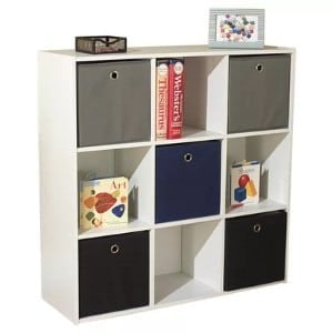 A trendy cube unit bookcase.