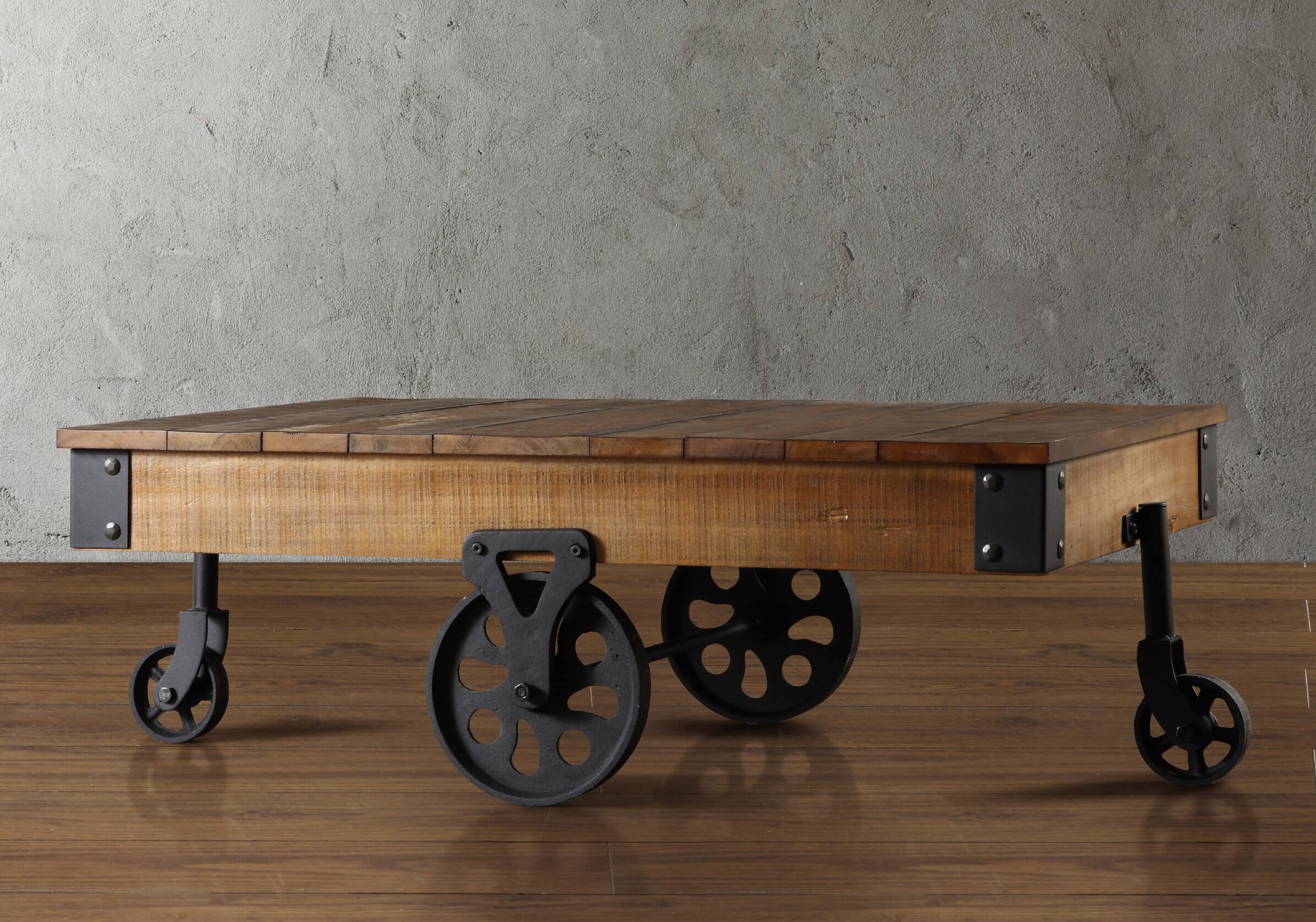 Industrial cart-style coffee table.