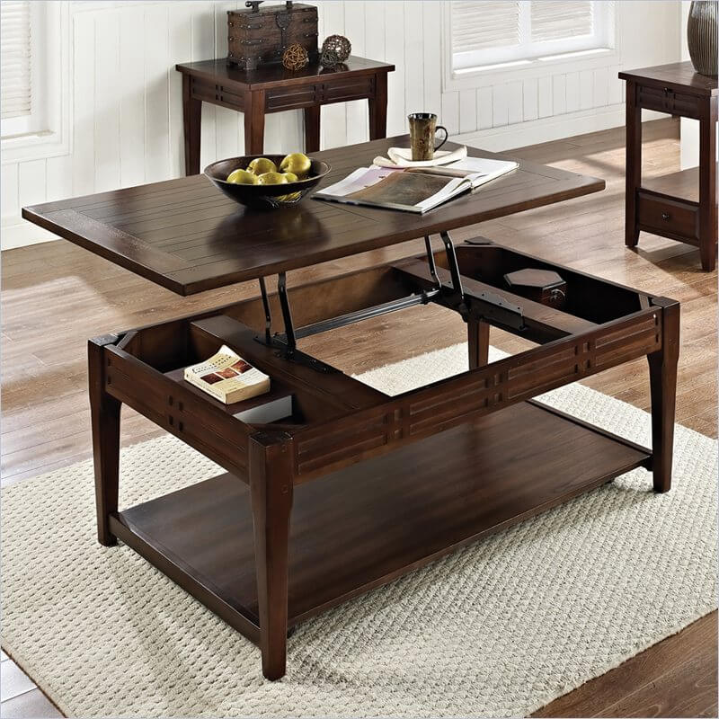 Classic lines inform the natural wood construction of this elegant lift top coffee table. The subtle lift mechanism is tucked into the frame, while allow for a pair of storage spaces beneath the surface.