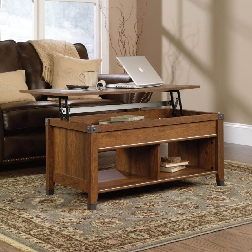 The timeless appearance of this lift top coffee table is at least partly due to its sharp edged natural wood construction, lightly framed with steel plates at the corners. Below the substantial surface sits a pair of large shelves for extra storage and display.