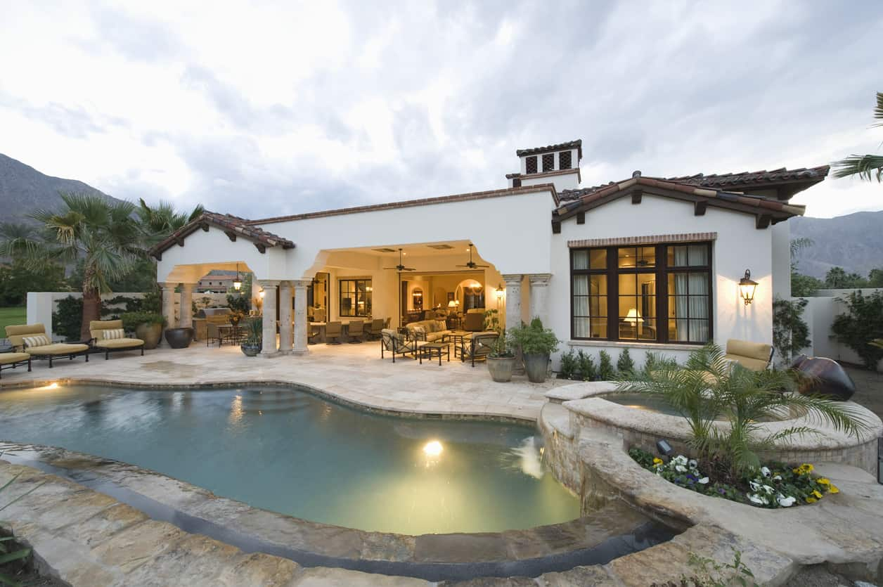 Single story ranch style Mediterranean style home.