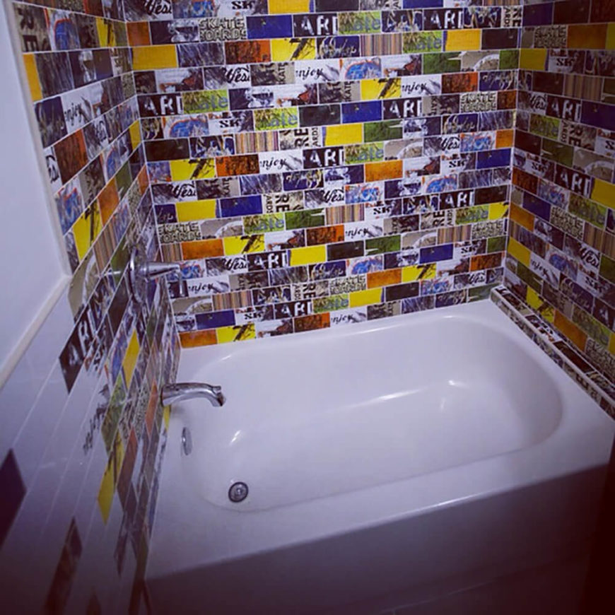 This is a bathtub space that the Art of Board designers created for a private customer. They have taken the unique art of skateboards and translated it onto bathroom tiles. We love the idea of being able to surround yourself with what you love, and even if you aren't a skater, the art shown here is impressive to say the least. Skateboarders and Art enthusiasts alike will appreciate this design!