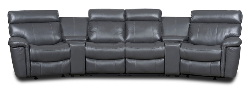 With a slightly curved shape, this elegant solution closely resembles a classic sofa sectional in overall form. However, each seat features an individual reclining function with footrest, while the broad dividers offer dual cupholders and a lifting lid to reveal inner storage.