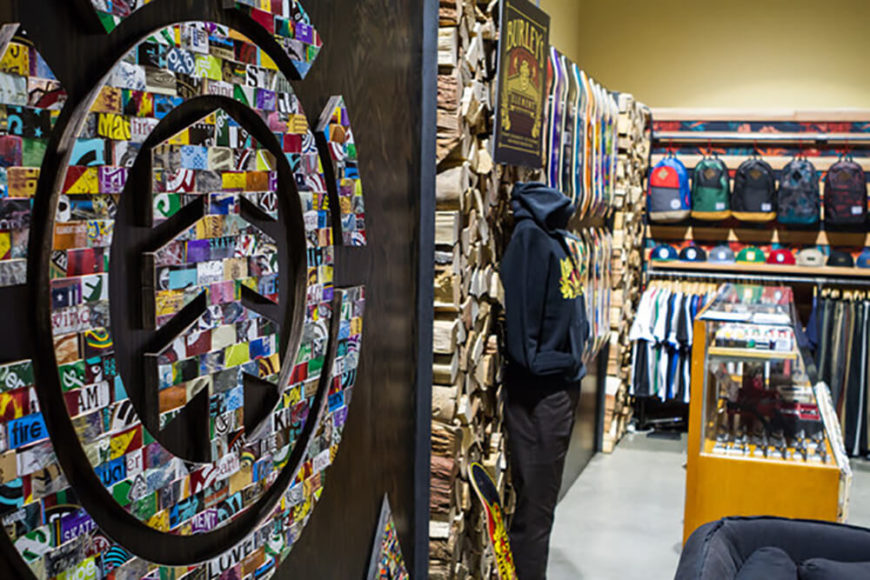 If you are a fan of skateboarding, you will surely recognize the Element logo here. This design was featured in one of Element's trade show booths, and it is easy to imagine how well this could attract customers. Board art is a combination of a plethora of different colors and design styles, so it makes sense that the design will do a good job of catching attention. Customers of Element can l0ok at the logo's design and see boards that they recognize, giving them a sense of nostalgia and prompting them to remain a loyal patron!