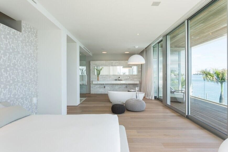 Large Modern Bathroom with Floor-to-Ceiling Windows