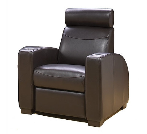 Here's another chair that's perfect for more modern, sleek, and elegant spaces. The crisp lines and soft curves of the leather club chair make for a handsome appearance, while the thick cushioning and headrest make for the utmost comfort.