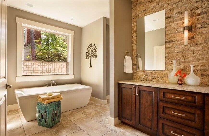 Window Next to Bathtub with Privacy Screen